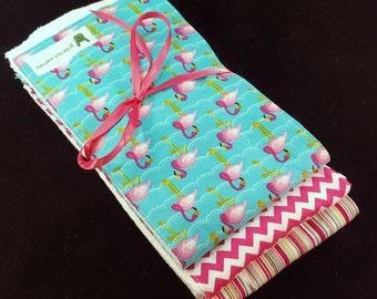 Baby Girl Burp Cloth Set - Flamingos and Pink Modern Patterns