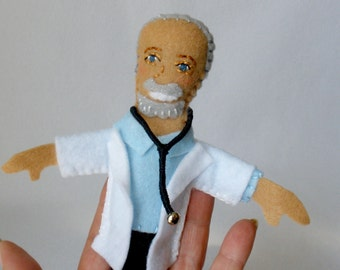 Doctor Finger Puppet, White Coat, Stethoscope, Teaching Toy, Pediatric Helper