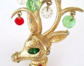 Gold Reindeer Brooch Mylu Christmas Pin