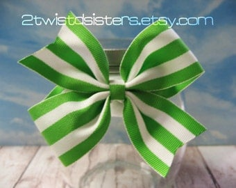Simply Green and White Striped Bow