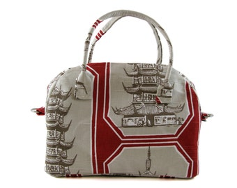 Bowling Handbag Zippered Purse in Red, White and Taupe Chinese Temple Print