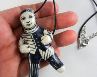 Black and white, porcelain doll necklace, OOAK, doll pendant