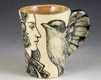 Bird cup black and white porcelain with wing handle OOAK