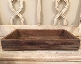 Rustic Wooden Catchall Tray - Authentic Greenhouse Flower Crate - Distressed Wood