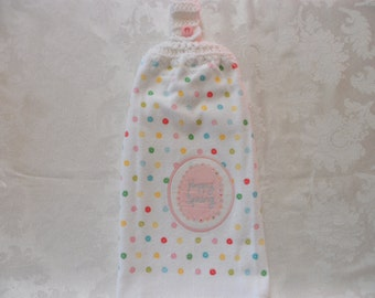 Hanging Double Kitchen Towel Happy Spring Towel  Flower Towel Crochet Top Hanging Kitchen Towel