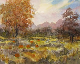 Pumpkin Patch Archival Print Of Original Watercolor landscape painting, autumn landscape, fall painting, country landscape, scenic, nature