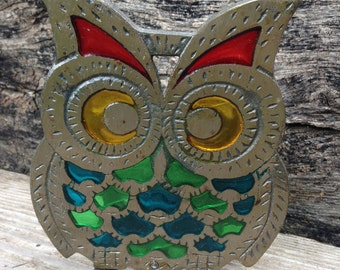 Vintage Stain Glass Owl Napkin/Envelope/Paper Holder