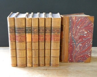 Antique French Leather Volumes from 1874. Histoire de France. Parisian Chic. Instant Library. Antique Book Set.