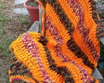Fall Variegated Colors Cluster Stitch Afghan