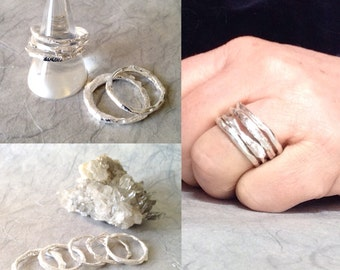 Silver Stacking Rings, organic, rustic, made to order
