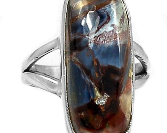 5.5 - 6 size Pietersite Ring, Browns Blues Chatoyant. Solid Sterling Silver.