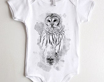 Owl and Watercolors Onesie - American Apparel Baby Outfit - Available in 3-6MO, 6-12MO, 12-18MO