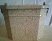 Vintage French Enamel Metal Lunch Box, Lunch Pail Enamelware, Graniteware