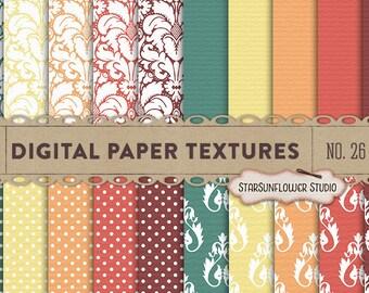 Damask & Dots Digital Scrapbook Paper Pack  No 26 - 12x12