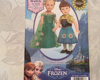 Simplicity Pattern 1088-Disney Frozen Princess Patterns for 18 Inch Dolls New and Uncut