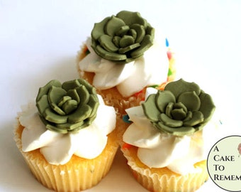 "12 flat petals edible succulents. 1.5"" asst.colors. Rustic cake or cupcake toppers and autumn weddings. Cactus and desert weddings"