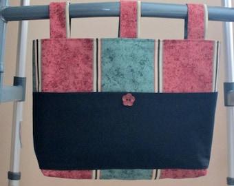 Adult Unisex Walker Bag Tote Caddy - Cotton Canvas Dark Green & Burgundy Stripe Bag 3 Straps, Solid Black Cotton Pockets, Burgundy Button
