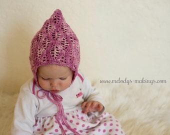 Lace Baby Hat Crochet Pattern ~ Summer Baby Hat Crochet Pattern ~ Newborn Baby Bonnet Crochet Pattern ~ Lace Hat Crochet Pattern