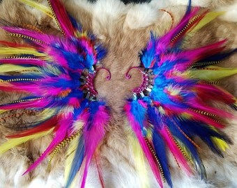 Rainbow Feather Ear Cuffs - Matching Pair