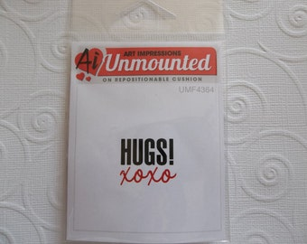 Hugs! XOXO Hugs & Kisses Rubber Stamp - Great for Love or Valentines Day Card Making or Scrapbooking - Qty 1
