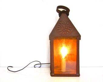 Antique pierced tin candle lantern, electrified primitive rustic lighting fixture