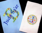 Thermal Baby Blanket with Burp Cloth Monogrammed