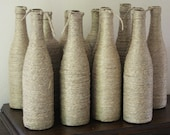 Twine wine bottles, wedding decorations, rustic decor, home decor