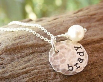 Necklace with Kids Name Sterling Silver Stamped Distressed Disc