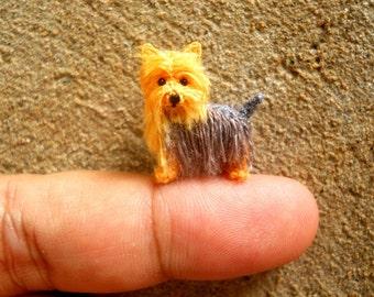 Miniature Yorkshire Terrier - Tiny Crochet Miniature Dog Stuffed Animals - Made To Order