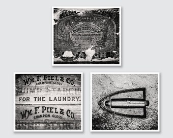 Black and White Laundry Room Print or Canvas Art Set, Black and White Laundry Decor, Farmhouse Laundry, Vintage Laundry, Country Laundry.