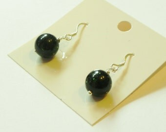 Dark green goldstone sterling silver earrings.