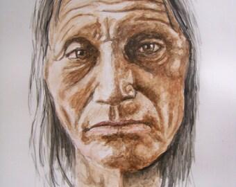 Native American Watercolor Original