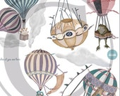 Choice of 1 Ex-Large Animal/Girl Hot Air Balloon, nursery, toddler, baby, hand painted look, Repositionable fabric, Wall decals, ala carte