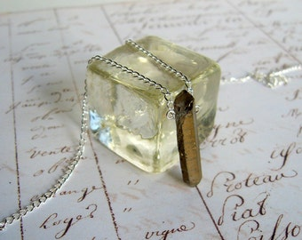 Gold Quartz Crystal Wand - Enchanted Petite Necklace - quartz point, natural, Quartz necklace, crystal necklace, modern, minimal, ooak