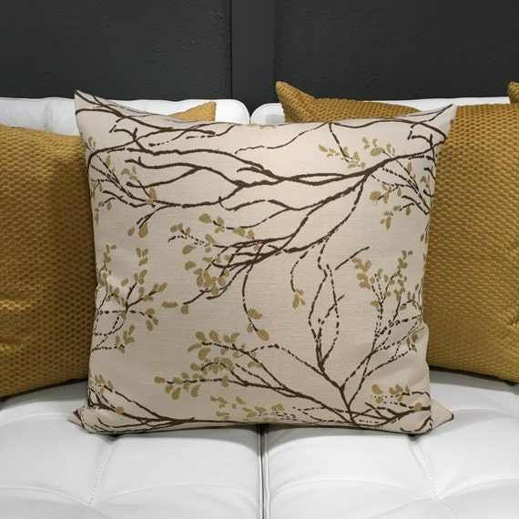 Gold pillow cover tree branch upholstery fabric throw pillow - Fabric for throw pillows ...