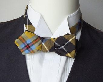 Men's bowtie - diamond point - (self tie bowtie), freestyle, Cornish Tartan fabric, black linen on reverse.