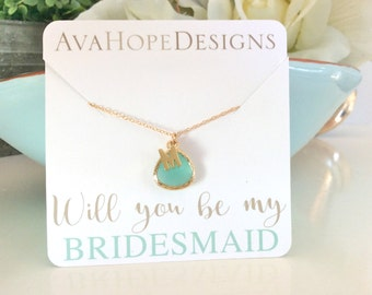 Personalized Wedding Gold Necklace Initial Necklace Will you be my Bridesmaid Necklace bridesmaid gift, birthday gift, personalized gift