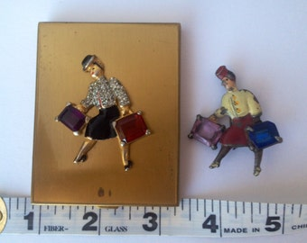 Duo! 1930 Rhinestone Bellhop Suitcase Stewardess mid Century Collector Compact PLUS Brooch of Pot Metal Enamel