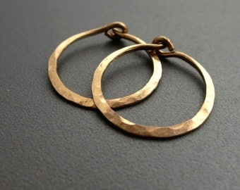 "Hammered Gold Earrings 5/8""D Small 14K Gold Filled Hoop Earrings"