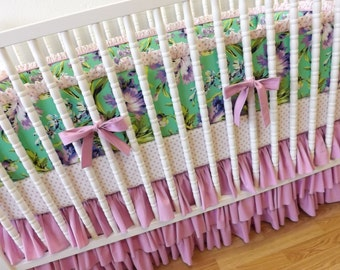 Girl Baby Bedding- Floral Crib Bedding- Bliss Bouquet MADE to ORDER-Crib Bedding Set-