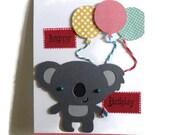 Koala Bear Birthday Card, Kids Greeting Cards, Koala Bear Card, Childrens Cards