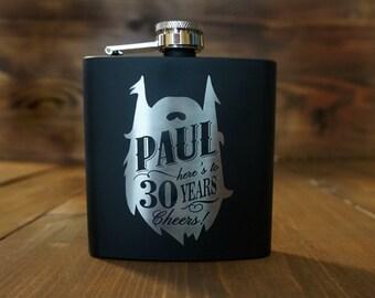 Personalized Birthday Beard Flask