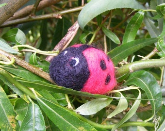 Ladybird - Needlefelted little woolly ladybird or ladybug for Summer or someone fond of ladybirds or ladybugs.