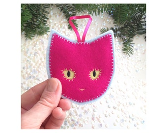 Handmade Christmas ornament - fuchsia neon cat - handcrafted from 100% wool felt - Christmas and Holiday decor