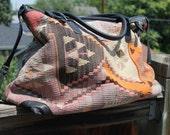 Vtg. Turkish Wool Kilim Weekender Duffel Luggage UNISEX shoulder bag