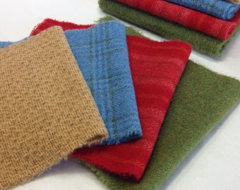 Colorful Wool Bundle, Wool Fabric for Rug Hooking and Applique, 4) Fat 1/16ths, W222, Red, Gold, Blue, Green