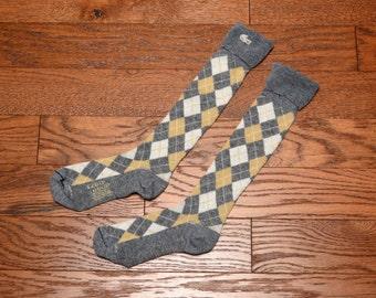 vintage 60s 70s argyle socks Izod Lacoste knee high argyle socks gray tan white 1960 1970 knee hi alligator logo one size fits all