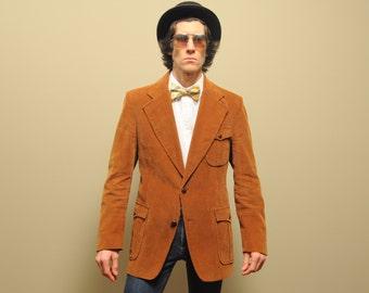 mens vintage corduroy sport jacket 70s brown corduroy blazer 1970 vintage menswear Baron Ltd wide lapel 40L 40 long big tall