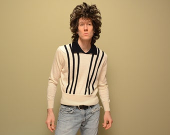 mens vintage knit shirt 60s knit shirt long sleeve 1960 menswear Jaeger wool pullover vertical stripe rockabilly medium M
