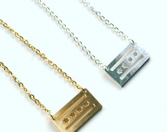chicago illinois flag | minimalist charm necklace | gold and silver plated jewelry